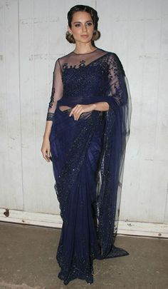 Kangana Ranaut in a Falguni & Shane Peacock saree Indian Bridal Outfits, Indian Designer Outfits, Long Shirt Outfits, Indian Attire, Indian Wear, Saree Blouse Patterns, Celebrity Style Inspiration, Elegant Saree, Indian Couture