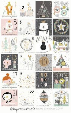 Illustrated Advent Calendar by dottywrenstudio Christmas Countdown, Noel Christmas, All Things Christmas, Winter Christmas, Christmas Crafts, Christmas Decorations, Christmas Calendar, Christmas Tables, Nordic Christmas