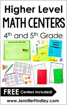 Math centers don't have to be only computation or fact fluency practice. This post shares SIX higher level math centers that are perfect for upper elementary, including FREE centers! - Kids education and learning acts Math Rotations, Math Centers, Numeracy, 4th Grade Centers, Fifth Grade Math, Fourth Grade, 4th Grade Math Games, Year 5 Maths, Sixth Grade