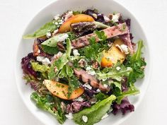Grilled Ham Salad with Peaches and Goat Cheese Recipe : Food Network Kitchen Ham Salad Recipes, Goat Cheese Recipes, Healthy Recipes, Free Recipes, Cheese Food, Drink Recipes, Salad Bar, Soup And Salad, Grilling Recipes