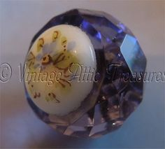 Antique Victorian Faceted Glass Ball Charmstring Button Milkglass Floral Center