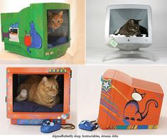Cat bed in an old computer monitor- I think I might have to try this if we still have my old monitor!