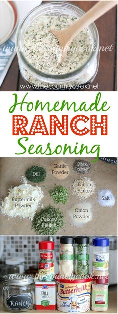 Homemade, From-Scratch, Ranch Seasoning Recipe from The Country Cook. Gluten Free, Preservative Free and SO simple to make! This makes some of the yummiest dressing!