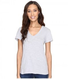 Mod-o-doc - Slub Jersey Short Sleeve V-Neck Tee (Silver) Women's Short Sleeve Pullover