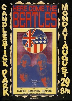 THE BEATLES (English Rock Band) Original 'Here We Come The Beatles' Candlestick Park Concert Poster. Venue: Candlestick Park, SF. Dated: August 29th, 1966. Artist: Wes Wilson. First Printing. Framed 18.25 inches by 25 inches.