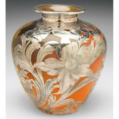 Rookwood vase, Standard glaze with Beech tree branches, applied silver overlay, executed by Emma Foertmeyer in 1892