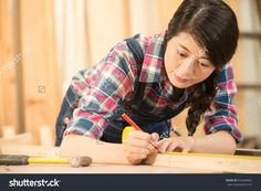 Close-Up Of Craftsman Hands In Measuring Wooden Plank With Ruler And Pencil. Woodwork And Renovation Concept. Mixed Race Asian Chinese Model. 库存照片 535008985 : Shutterstock