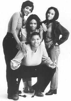 """Vivica Fox, Kimberly Elise, Jada Pinkett-Smith & Queen Latifah in """"Set It… Vivica Fox, Jada Pinkett Smith, Queen Latifah, Hiphop, Kimberly Elise, Vintage Black Glamour, Black Tv, Black Girl Aesthetic, 90s Aesthetic"""