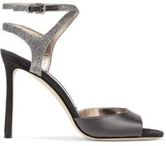 6fc0bf3c216d Jimmy Choo - Helen 100 Glitter-trimmed Satin And Suede Sandals - Anthracite  Satin Shoes