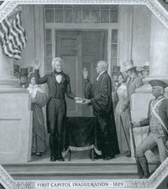 Andrew Jackson became the first president to be inaugurated on the East steps of the Capitol building, depicted here in an Ally Cox mural (1829).