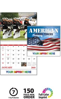 2018 American Armed Forces (Spiral) Calendar | Imprinted Spiral Bound Calendars; Drop Ad Imprint Calendars, promotional wall calendars, spiral calendars, spiral wall calendars, business calendars, advertising calendars, promotional products, promo products, how to advertise my business, american armed forces, armed forces calendar, patriotic, heroic, military calendar, military, navy, army, marines, national guard