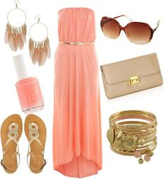 Coral Maxi Dress Outfit Idea for Summer