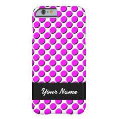 Trendy iPhone Case with Shadow Polka Dots, Hot Pink & Black on White; shadows give a 3-D effect; personalize with your name in white on the black ribbon label. Select CUSTOMIZE to choose your case from a number of iPhones, iPads, or other phone brands.