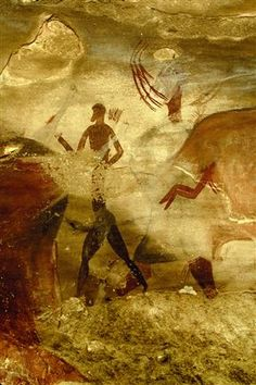 One of the thousands of rock paintings depicting the San people's way of life and their religious beliefs - The San People or Bushmen of South Africa, also known as the Khoisan South Africa Tours, Rock Of Ages, Ancient Mysteries, African Art, African Paintings, Aboriginal Art, Illustrations, Ancient Art, Oeuvre D'art