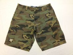 34, Green Mens Camouflage Cargo Shorts Casual Lounge Shorts Multi Pocket Outdoor Wear Lightweight Basic Short Pants Trousers