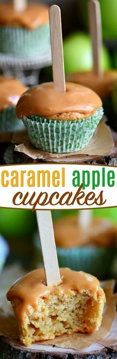 There is no better way to usher in fall than with these delicious Caramel Apple Cupcakes. Moist cupcakes loaded with apples and applesauce for double the apple flavor. A decadent caramel frosting tops them off beautifully. Popsicle sticks not optional. // Mom On Timeout #apple #cupcake #recipe
