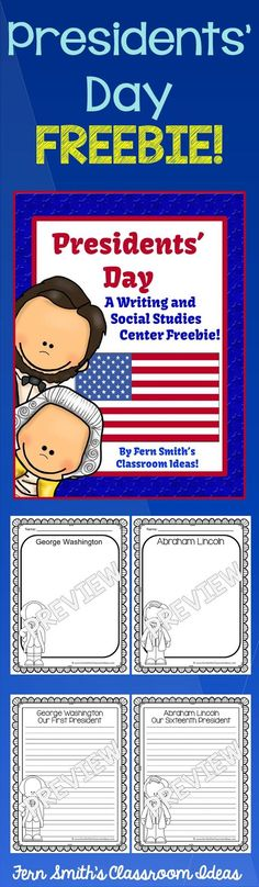 My Freebie for you this Tuesday is a resource with four writing center pages for George and Abe! @ Tuesday Teacher Tips: Presidents' Day Resources and Freebie #TPT #Free