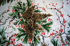 "Over 2 Yds Pine Cones and Berries  Christmas Cotton Fabric 88"" X 56"""