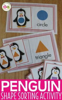 Penguin activities and shape activities for toddlers, preschool, and pre-k.  For your penguin theme, polar animal theme, and winter theme lesson plans and units.  Kids can sort the penguins by shape and size.  Teach shapes.  Use with the books Tacky the Penguin, If I were a Penguin Toddler Themes, Preschool Activities, Shape Activities, Preschool Letters, Alphabet Activities, Winter Activities For Toddlers, Shapes For Toddlers, Tacky The Penguin, Teaching Shapes