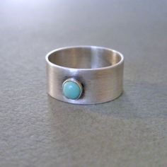 Natural Turquoise Cigar Band Ring in Sterling by brightsmith, $65.00 Cigar Band, Band Rings, Cuff Bracelets, Gemstone Rings, Rings For Men, Turquoise, Natural, Shop, Glamour