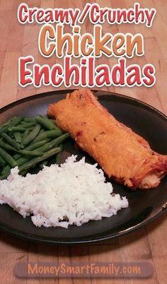 A Simple Creamy Cheesy Chicken Enchilada Recipe.