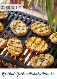 These Grilled Yellow Potato Planks put the chillin' back in grillin'. Just coat some yellow potatoes in a blend of olive oil, garlic, rosemary and salt for an effortless appetizer or side dish. All th (Yellow Potato Recipes) Healthy Grilling Recipes, Cooking Recipes, Grill Recipes, Recipes Dinner, Grilled Potato Recipes, Appetizer Recipes, Appetizers, Muesli, Slimming World