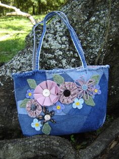 Crazy Quilt Denim Tote Bag with Fabric Flowers Eco friendly Upcycled Shabby Chic fully Lined