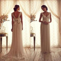 Wholesale Sheath Wedding Dresses - Buy 2015 Real Image Anna Campbell Bridal Gown Sheath Column A Line V Neck Open Back Sleeveless Lace Chiffon Wedding Dresses Appliques Beads Bow, $154.98 | DHgate.com
