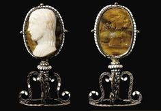 A CARVED OVAL AGATE CAMEO OF CHRIST, WITH THE ANNUNCIATION IN INTAGLIO ON ITS REVERSE ATTRIBUTED TO GIOVANNI DELLE CORNIUOLE (CIRCA 1470 - AFTER 1516), LATE 15TH CENTURY Christ facing in profile to the left; on reverse, a sard intaglio of the Annunciation showing the dove of the Holy Spirit hovering over the Virgin Mary who is greeted by the archange Gabriel; in an enamelled oval frame with spiral twist border supported by a scrolled stand.