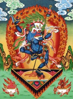 Singhamukha, the Lion-headed Dakini, a manifestation of Leyki Wangmo, the Dakini of Deeds who initiated Padmasambhava into the Kagye circle at Oddiyana. In the charnel grounds known as 'Joyous Grove' and Sosadvipa, Padma received empowerments and blessings from the Lion-headed Dakini.