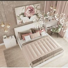 Inspirational ideas about Interior Interior Design and Home Decorating Style for Living Room Bedroom Kitchen and the entire home. Curated selection of home decor products. Luxury Bedroom Design, Girl Bedroom Designs, Room Ideas Bedroom, Home Room Design, Home Decor Bedroom, Home Interior Design, Bedroom Furniture, Master Bedroom, Decor Room
