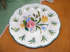 Hand Painted & Numbered Italy Italian Egg Plate Rose Tulip Floral $14.99 - ebay