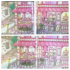 My Colorful Town by Chiaki Ida Bakery exterior Completed adult coloring pages done by colorist: Jax