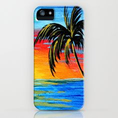 Abstract Tropical Palm Tree Painting TROPICAL GOODBYE by MADART iPhone Case