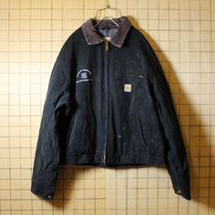 USA製 Carhartt カーハート 古着 ブラック 裏地ブランケット ダックジャケット メンズXL相当 刺繍