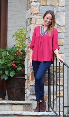 Make a statement with one of our tops! We offer both casual and dressy tops. Autumn Inspiration, Fashion Inspiration, Marley Lily, Jumper Shirt, Dressy Tops, Jumpers, Berry, Cardigans, Ruffle Blouse