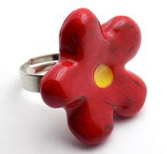 Χειροποίητο Κεραμικό Δαχτυλίδι Λουλούδι