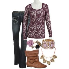 This lace top from rue21 looks perfect with jeans and feminine accessories! Click on the pin to check out all the great colors it comes in!