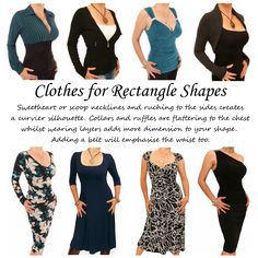 Clothes for Rectangle Body Shapes. The definition of a rectangle body shape is when the waist, hip and shoulder widths are similar. When choosing clothes the aim should be to create curves and show off slender arms and legs. This selection of Just Blue designs are just a few of the items we feel flatter the gorgeous rectangle shaped figure. For more ideas take a look at http://www.justblue.com/ #womensfashion