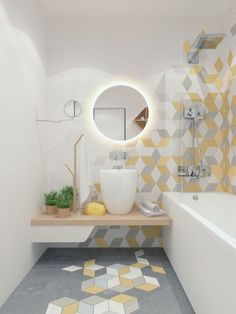 This bright bathroom design has used hexagon tiles to great effect. The extra tall counter basin is a nice feature too.