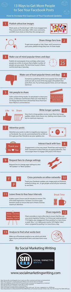 13 Ways to Boost Your Facebook Posts Exposure [Infographic] http://socialmarketingwriting.com/13-ways-to-boost-your-facebook-posts-exposure-infographic/