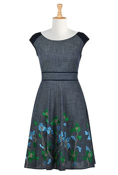 I <3 this Contrast trim floral embellished chambray dress from eShakti