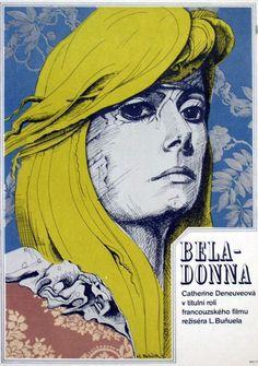 Czech poster by Karel Machálek, Belle de Jour, 1 9 6 7, dir. Luis Bunuel.