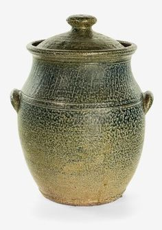 Barry Brickell Large stoneware lidded bread crock, with lug handles to the shoulder and blue salt glaze, impressed potters cypher to the lid. Ceramic Jars, Glass Ceramic, Pottery Plates, Ceramic Pottery, Jar Storage, Clay Pots, Handmade Pottery, Crock, Stoneware