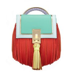The Volon Bon-bon Sky Blue Color Block Handbag (£750) ❤ liked on Polyvore featuring bags, handbags, shoulder bags, sky blue, red hand bags, red shoulder bag, fringe shoulder bag, purse shoulder bag and red handbags