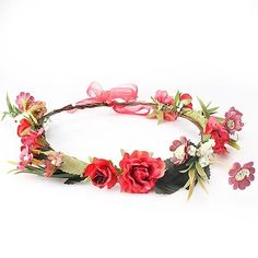 M MISM Bride Women Flower Crown Hair Band Wedding Floral Headband Garland Ribbon Bow Girl Flower Wreath Elastic Hair Accessories Floral Headband Wedding, Flower Crown Wedding, Floral Headbands, Floral Wedding, Red Flower Crown, Flower Crown Hairstyle, Floral Crown, Bohemian Hair Accessories, Wedding Accessories