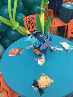 Finding Nemo Birthday Party Ideas | Photo 1 of 18 | Catch My Party Birthday Party At Park, Baby 1st Birthday, Birthday Stuff, Birthday Party Decorations, Birthday Ideas, Finding Dory, Deco Table, Baby Showers, Centerpieces
