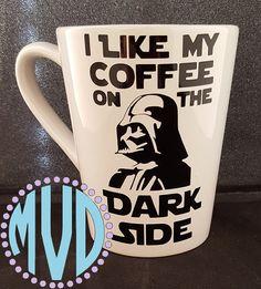Star Wars. Darth Vader. I Like My Coffee On The Dark Side. Coffee Mug.