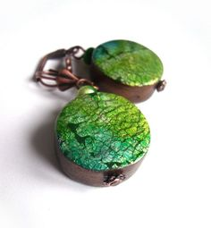 crackled earrings / green to turquoise  polymer clay by Chifonie, €15.00