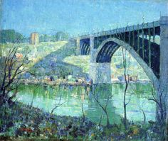 """""""Spring Night, Harlem River"""" by Ernest Lawson. oil on canvas. In the collection of The Phillips Collection, Washington, DC. I've seen this on only on-line. Reminiscent of Lawson's Harlem River painting at The High Museum, Atlanta. Illusion, Harlem, Ashcan School, American Impressionism, River Painting, Canvas Art, Canvas Prints, Painting Canvas, Canvas Size"""